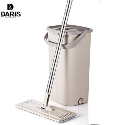 モップ フラット ステンレスハンドル 360度回転 ヘッド ウェット ドライ モップ絞り器 バケツ 窓 床 清掃セット