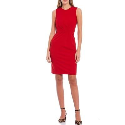 カルバンクライン レディース ワンピース トップス Sleeveless Scuba Crepe Pleated Sheath Dress Red