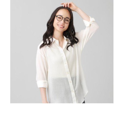 レディース ウィメンズ カジュアル 長袖 楊柳リラックスシャツ レギュラー衿 白×無地調