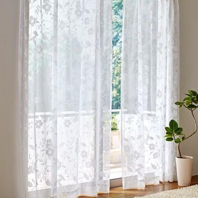 透け感のある草花柄レースカーテン/オフホワイト/幅100×丈98(2枚組)