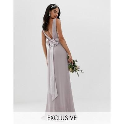 ティエフエヌシー レディース ワンピース トップス TFNC bow back maxi Bridesmaid dress in gray