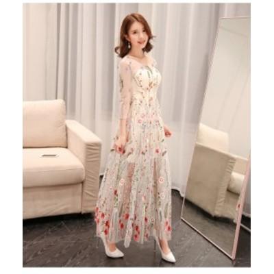 パーティードレス ワンピース 袖あり 七分袖 結婚式 二次会 ステージ衣装 ロング丈 シースルー 花 刺繍 上品 大きいサイズ