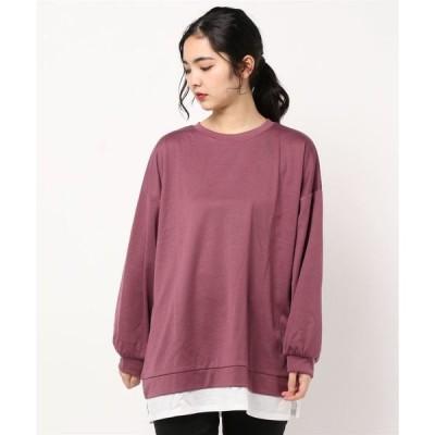 tシャツ Tシャツ ビッグシルエットレイヤードクルーネックロングTシャツ