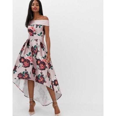 チチロンドン レディース ワンピース トップス Chi Chi London extreme bandeau midi dress in dusky pink floral