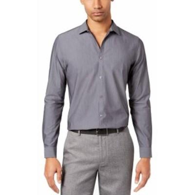 Calvin Klein カルバンクライン ファッション ドレス Calvin Klein Mens Dress Shirt Gray Size Medium M Button-Front Slim-Fit
