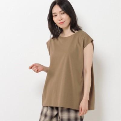 アンサンブル◎バックリボンノースリーブTシャツ キャメル M L