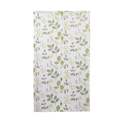 sunny day fabric のれん グリーン 約幅85cm x 丈150丈cm オパール暖簾 リーフ 洋風 透ける 葉っぱ柄