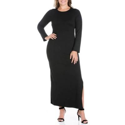 24セブンコンフォート レディース ワンピース トップス Plus Size Long Sleeve Side Slit Fitted Black Maxi Dress