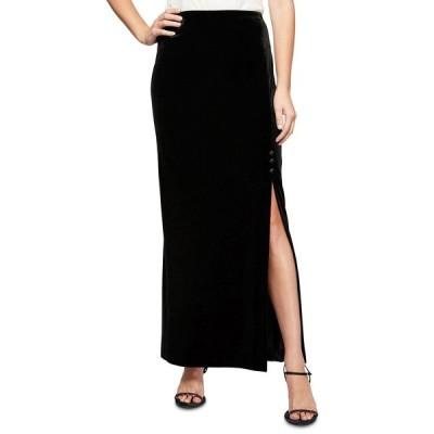 アレックスイブニングス スカート ボトムス レディース Side-Slit Velvet Maxi Skirt Black
