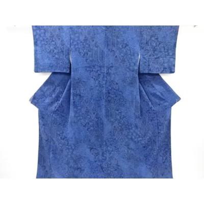 宗sou 縮緬地本藍桧扇に花更紗模様小紋着物【リサイクル】【着】