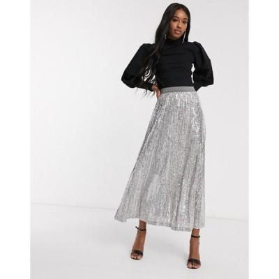 エイソス レディース スカート ボトムス ASOS DESIGN sequin pleated maxi skirt in gray