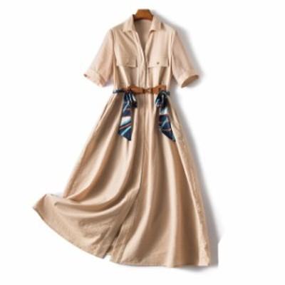 大きいサイズのレディースシャツワンピース Aライン ロングワンピース 無地 七分袖 マキシワンピース 襟付き ベルテッド ロング フレア
