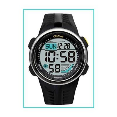 Digital Watch Men Sports Water Resistant 60 Lap 3 Alarm Stainless Steel Ring Stopwatch Dual Time Black Resin Watch Black 442 (Black)【並行輸入品