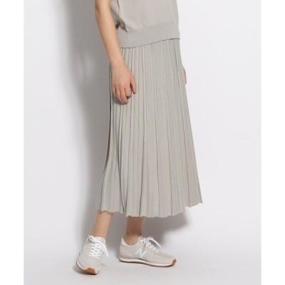 スカート 変形プリーツ風ニットスカート