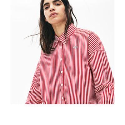 ボクシーフィット ストライプコットンシャツ