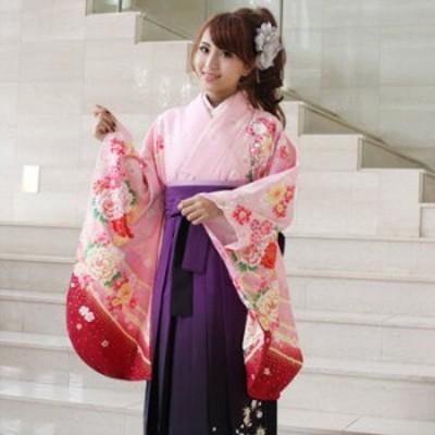 袴 レンタル 卒業式 袴セット 卒業式袴セット2尺袖着物&袴 フルセットレンタル 安い ピンク 可愛い