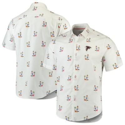 """トミーバハマ メンズ カジュアルシャツ """"Atlanta Falcons"""" Tommy Bahama Hula Oasis Woven Button-Up Shirt - White"""