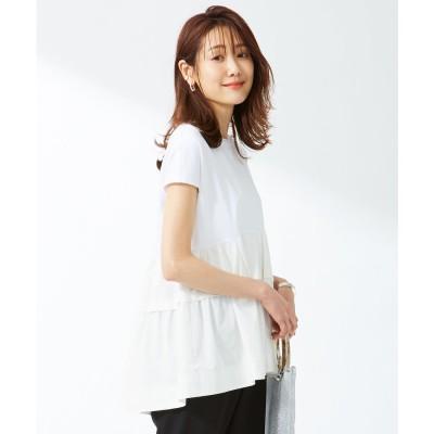 組曲 【洗える】コンパクトスムースコンビ ティアードカットソー (ホワイト系)