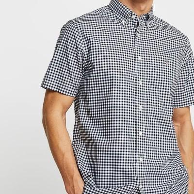 ガント メンズ ファッション BROADCLOTH GINGHAM SLIM - Shirt - marine