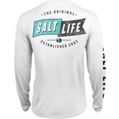 ソルトライフ シャツ トップス メンズ Salt Life Men's Salute Long Sleeve Fishing Shirt White