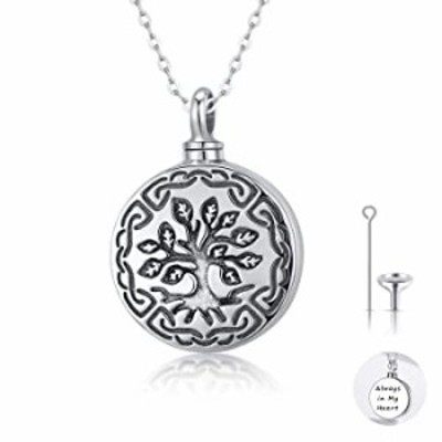 Waysles Tree of Life Urn Necklace, S925 Sterling Silver Family Tree Pendant Necklace Cremation Jewelry Engraved Always in My Hea