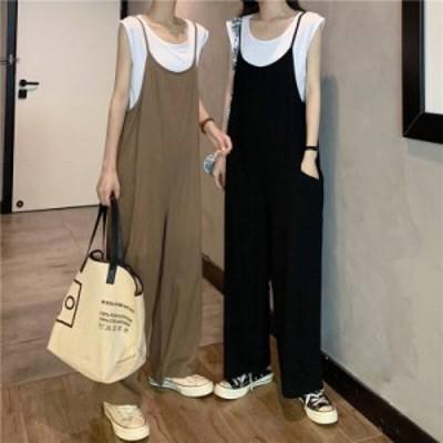 2色 サロペット 2点セット トップス ブラック ベージュ レディース ファッション 韓国 オルチャン