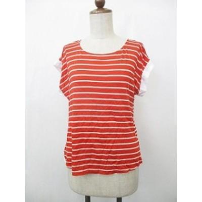 【中古】LadiesFashion カットソー Tシャツ ボートネック バンドスリーブ 切り替え ボーダー 赤白 M レディース