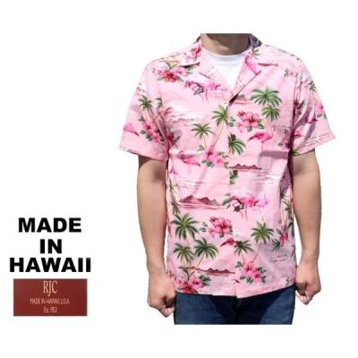 RJC ロバート・J・クランシー アロハシャツ フラミンゴ&ハイビスカス ハワイ製 ピンク