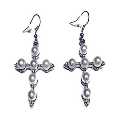 Fashion Jewelry Cross Earrings, Dangle White Simulated Pearl and Rhinestones Metal Cross Earrings