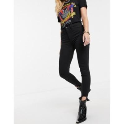 トップショップ レディース デニムパンツ ボトムス Topshop Jamie skinny jeans with jagged raw hem in black Black