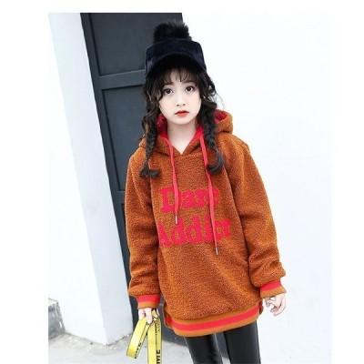 子供服トップス韓国子供服裹起毛女の子パーカー長袖厚手女児スウェットキッズパーカー学生服