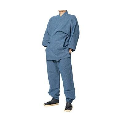 三子撚杢作務衣(さむえ) 日本製 (M, 15-亀甲紺)
