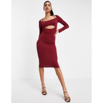 エイソス レディース ワンピース トップス ASOS DESIGN bolero cutout bra long sleeve midi dress in oxblood Oxblood