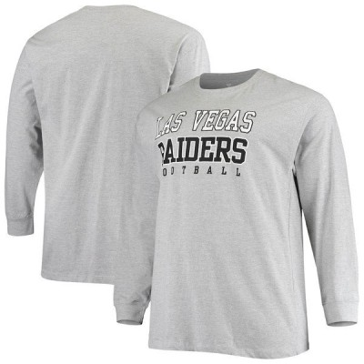 ファナティクス ブランデッド メンズ Tシャツ トップス Las Vegas Raiders Fanatics Branded Big & Tall Practice Long Sleeve T-Shirt Heathered Gray