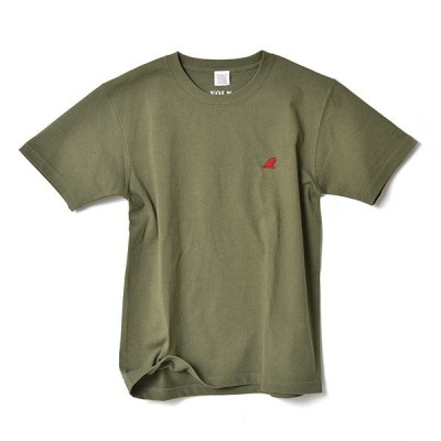 VOLN / CREW NECK T-SHIRT / RED FIN / LIGHT OLIVE