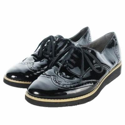 【中古】バニティービューティー 靴 シューズ オックスフォード メダリオン レースアップ エナメル 23.5 黒 ブラック