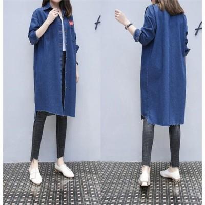 トレンチコート レディース デニム スプリングコート 春コート ゆったり ロング丈 アウター デニムコート ジャケット