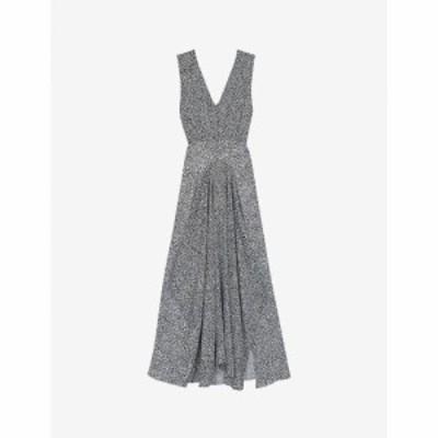 マージュ MAJE レディース ワンピース ワンピース・ドレス Renalle animal-print asymmetric dress BLACK WHITE