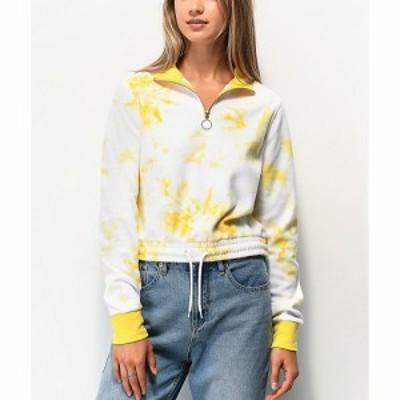 ジン ZINE レディース スウェット・トレーナー ハーフジップ トップス Zine Indiana Yellow Tie Dye Quarter Zip Crop Sweatshirt Yellow