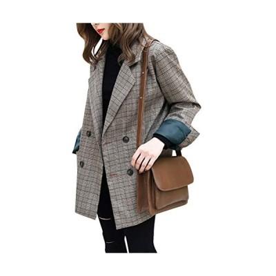 レディース ジャケット チェック柄 コート スーツコート 長袖 上着 アウター テーラード ジャケット WA323