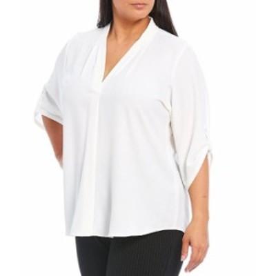 カルバンクライン レディース シャツ トップス Plus Size Pleated V-Neck Long Roll-Tab Sleeve Crepe de Chine Top White