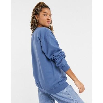 インザスタイル レディース パーカー・スウェットシャツ アウター In The Style x Olivia Bowen oversized motif sweatshirt in blue Blues