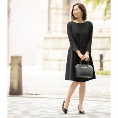 クチュールブローチ(Couture Brooch)/【WEB限定サイズ(LL)あり手洗い可】ダブルクロスリボンベルトワンピース