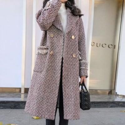 大人 カジュアル ツイード フリンジ ロング チェスターコート女性成熟したスタイルの女性千鳥格子ツイードウールコート