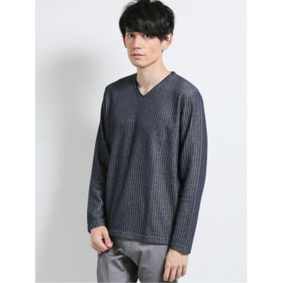 【タカキュー】 針抜ダブルフェイス フェイクVネック長袖Tシャツ メンズ ネイビー LL(XL) TAKA-Q