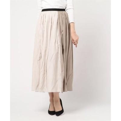 スカート サテン バイカラースカート