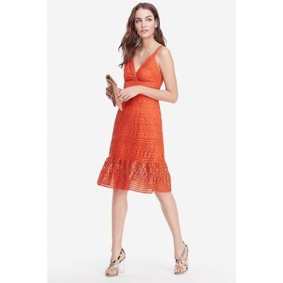 ワンピース ダイアンフォンファステンバーグ Diane von Furstenberg DVF Tiana Sleeveless Lace Dress Orange 6 10 12 14
