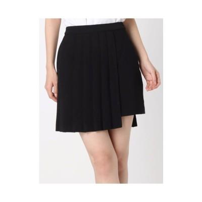 EVRIS プリーツオーバーラップスカート ブラック
