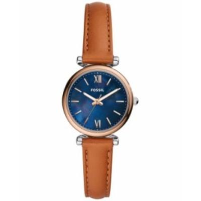フォッシル レディース 腕時計 アクセサリー Women's Carlie Mini Brown Leather Strap Watch 28mm Brown