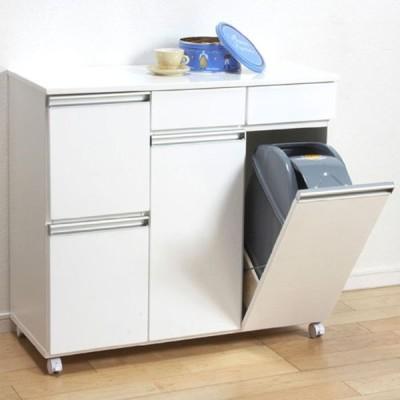 キッチンカウンター ゴミ箱内蔵 ペールボックス ごみ箱 キャスター付 幅82cm 高さ82cm 4D ホワイト キッチン収納 キッチンカウンター収納 作業台